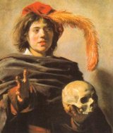 Young man with a skull
