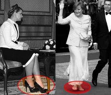 Die Schuhe von Julia Timoschenko und Angela Merkel